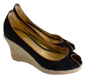 J.Crew Black & light gold Wedges