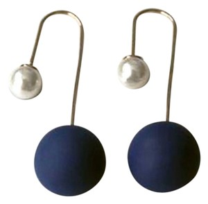 Colette Curve Wire Faux Pearl and Blue Resin Two-Sided Earrings.