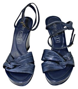 Cathy Jean Slingback Strappy Open Toe Blue Wedges