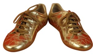 Dior GIRLS GOLD METALLIC LEATHER CANNAGE LACE UP SNEAKERS 30 12.5