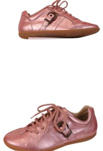 Dior GIRLS PINK METALLIC LEATHER CANNAGE LACE UP SNEAKERS 34 2