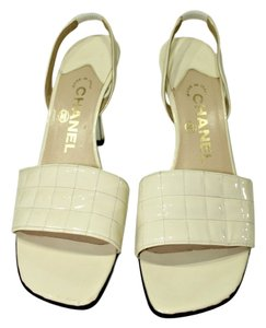 Chanel Sandal Patent Leather Cream Sandals