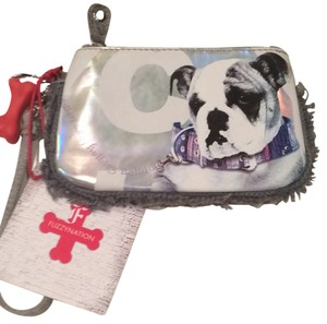 FUZZY NATION Bulldog Grey Gray Wristlet in Silver