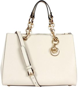 Michael Kors Cynthia Medium Saffiano Leather Satchel in Ecru