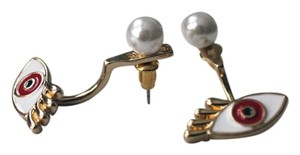 Colette Red Eye Faux Pearl Ear Jacket Earrings