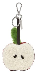 Fendi White Shearling And Red Calf Hair Big Apple Key Chain Charm
