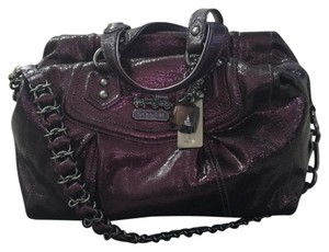 Coach Satchel in Dark Purple/Gunmetal