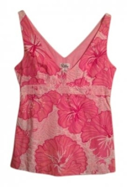 Preload https://img-static.tradesy.com/item/138712/lilly-pulitzer-pink-floral-vneck-night-out-top-size-4-s-0-0-650-650.jpg