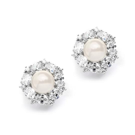 Silver/Rhodium Retro Chic Crystal Ovals Pearl Cluster Earrings