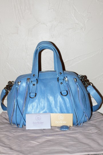 Botkier Pebbled Leather Silver Hardware Satchel in Blue