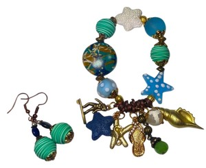 Other New Beach Theme Charm Bracelet & Earrings Set Shell Starfish J2280