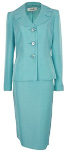 Le Suit LE SUIT NEW Womens Tuileries Blue Shimmer 2PC Skirt Suit Petites 8P