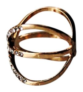 Colette Crisscross Crystal Covered Gold-Tone Ring SIze 7