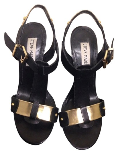 Steve Madden Black/gold Sandals