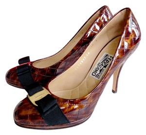 Salvatore Ferragamo Tan/Leopard Pumps