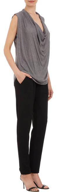 Barneys New York Viscose/wool. Rounded Hem Top Gray Charcoal