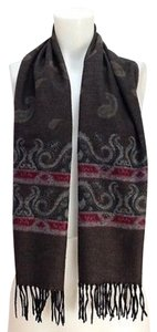 Womens Olive Brown Maroon Paisley Fringed Wool Blend Scarf 53 X 11
