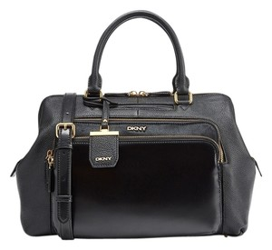 DKNY Mixed Material Leather Calf Hair Satchel in Black