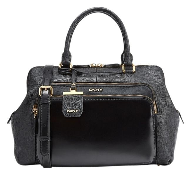 DKNY Mixed Material Style Number: 8320100033 Black Leather Satchel DKNY Mixed Material Style Number: 8320100033 Black Leather Satchel Image 1