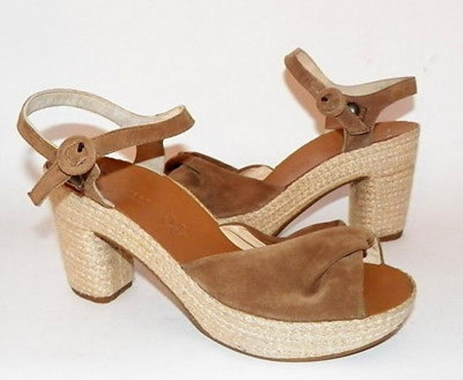 Item - Harper Sandals Khaki Suede Hemp Wrapped Heel Platform