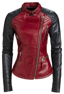 Other Black Motorcycle Biker Fitted Red Leather Jacket