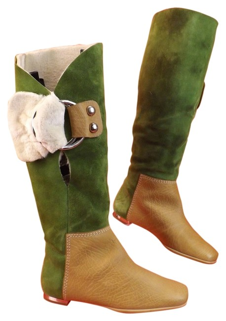 Item - Multi Color Two Tone Suede Leather Shearling Buckle Boots/Booties Size US 7 Regular (M, B)
