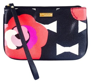 Kate Spade Kate Spade Leather Pink And Black Floral Print Wristlet Wallet Coin Purse New