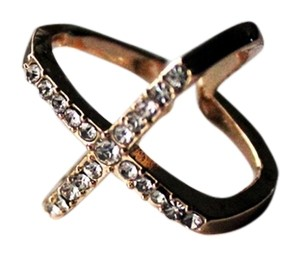 Colette X-marks Crystal Covered Gold Ring