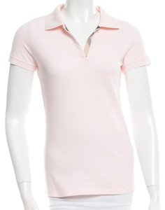 Burberry Nova Check Plaid Shortsleeve Cotton Monogram T Shirt Beige, Pink