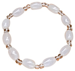 Other WHITE JADE CRYSTAL QUARTZ GLASS GEMSTONE BRACELET STRETCHY 7 1/3 inches