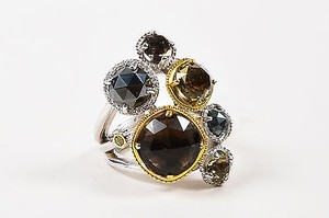 Tacori Tacori Sterling Silver 18k Gold Diamond Quartz Midnight Sun Ring