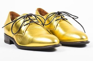 Céline Metallic Leather Lace Up Oxfords Gold Flats