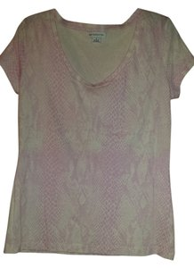 Liz Claiborne Animal Print T Shirt Pink/white