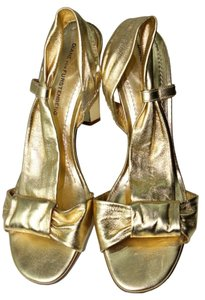 Diane von Furstenberg Strappy Open Toe Gold Pumps
