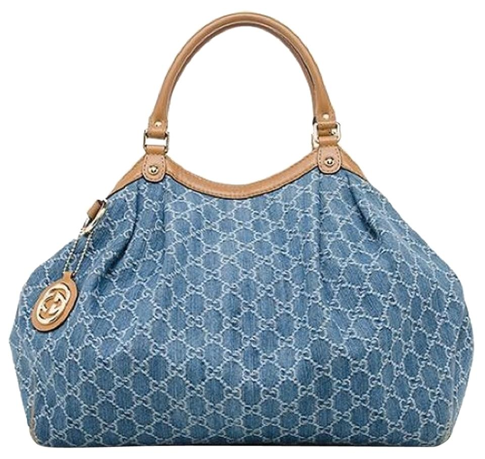 6a00e9efdb24 Gucci Sukey Large Blue Denim & Tan Leather Tote - Tradesy