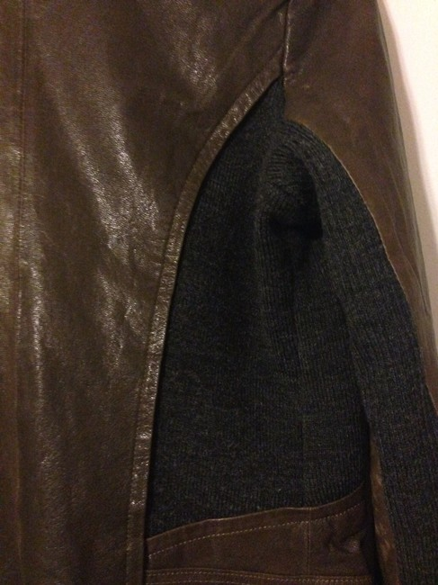 Via Spiga brown and gray Leather Jacket