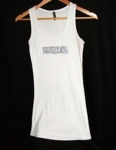 White Tank Top with Rhinestones Wedding - - Blue Bling - Free Shipping