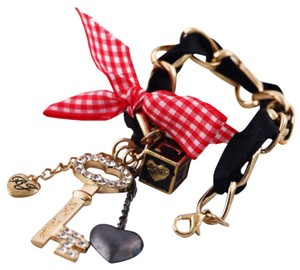 Betsey Johnson Betsey Johnson Crown Pendant Lock Key Charm Love Dice Ribbon Bracelet with free Gift Bag