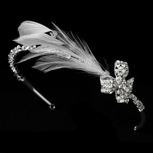 Glistening Feather & Bow Side Accented Rhinestone Sparkle Wedding Bridal Headband Tiara