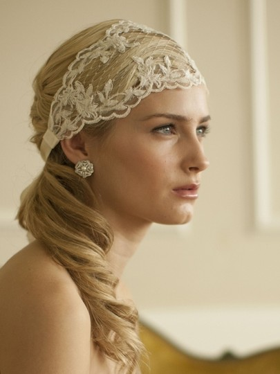 Ivory Stunning Split Lace Ribbon Headband with French Netting Hair Accessory