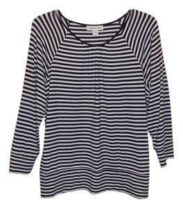 Coldwater Creek Top Black & White Striped