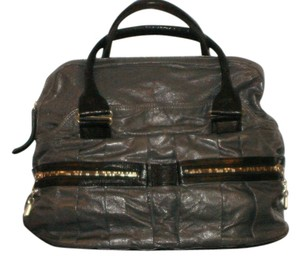 See by Chloé Patent Leather Gold Hardware Satchel in Grey
