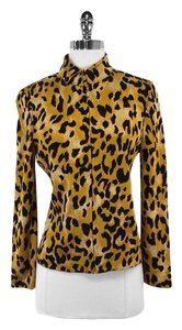 St. John Gold Black Animal Print Zip Up Jacket