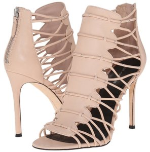 Pour La Victoire Leather Open Toe Stiletto Blush Sandals