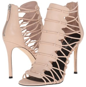 Pour La Victoire Leather Open Toe Stiletto Strappy Zipper Blush Sandals