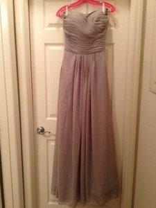Light Grey Chiffon Sweetheart Neck Floor Length Formal Bridesmaid/Mob Dress Size 4 (S)