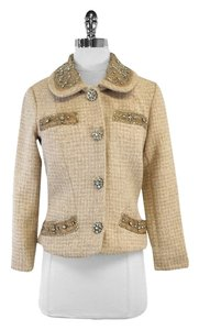 Tracy Reese Tan Embellished Tweed Suit Jacket