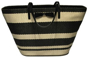 Kate Spade Beach Tote in Natural Pale/Black Stripes