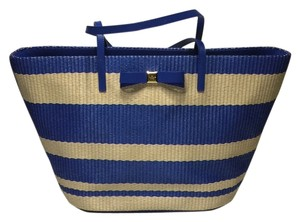 Kate Spade Beach Anabette Sale Clearance Tote in Natural Pale/Blue Stripes