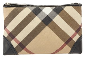 Burberry Burberry Black & Tan Nova Check Coated Canvas Cosmetic Bag (78515)